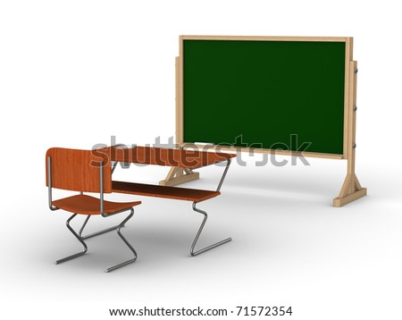 Blackboard with chalk on white background. Isolated 3D image - stock photo