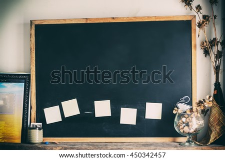 Blackboard with decoration, abstract texture background. - stock photo