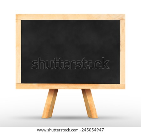 Blackboard with easel in white studio room wall,Template for your content. - stock photo