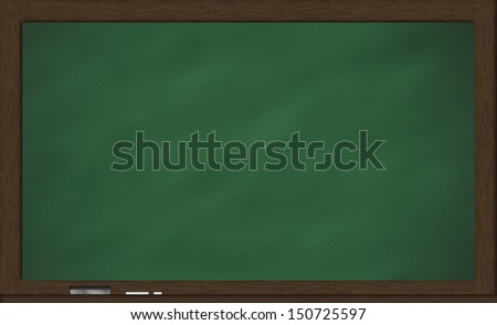 Blackboard with eraser and chalk  - stock photo