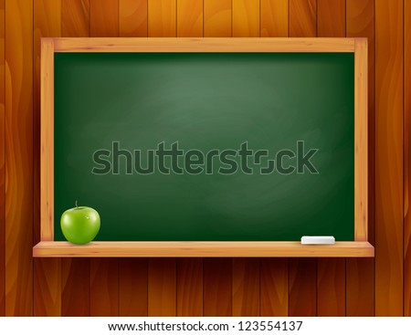 Blackboard with green apple on wooden background. Raster version of vector. - stock photo