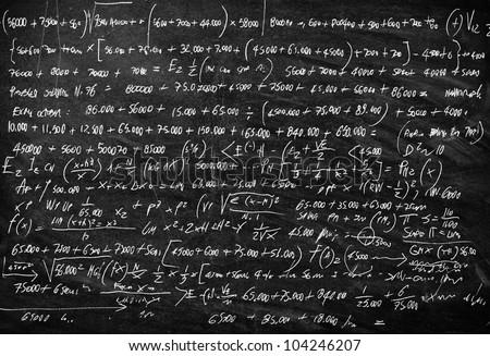 Blackboard with math lesson written on it - stock photo