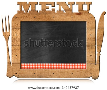Blackboard with Text Menu and Cutlery / Empty blackboard with checkered tablecloth, wooden frame with text Menu, fork and knife. Template for recipes or food menu - stock photo