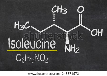 Blackboard with the chemical formula of Isoleucine - stock photo
