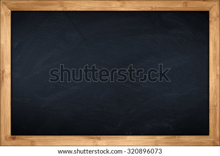 blackboard with wooden bamboo frame - stock photo