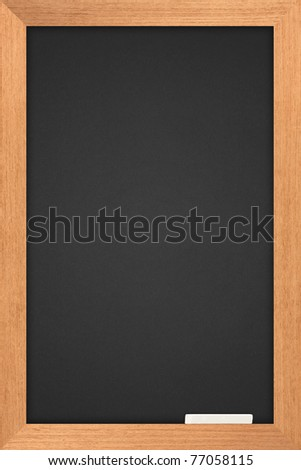 blackboard with wooden frame and are colored white pastel - stock photo