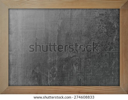 Blackboard with wooden frame for background : Black chalkboard with pine wood frame for adding text  - stock photo