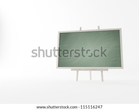 blackboard with wooden on a white background - stock photo