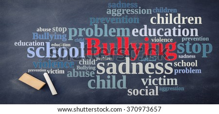 Blackboard with word cloud relating to Bullying. - stock photo