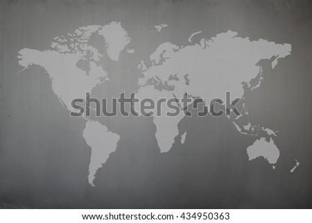 Blackboard with world map  - stock photo