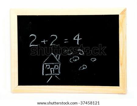 Blackboard with writing - stock photo