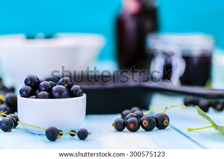 Blackcurrant - fresh blackcurrant fruit, healthy food - stock photo