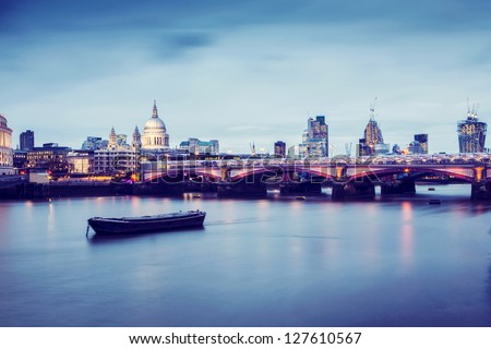 Blackfriars Bridge in London at twilight. - stock photo