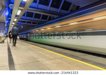 Blackfriars station on the London underground - stock photo