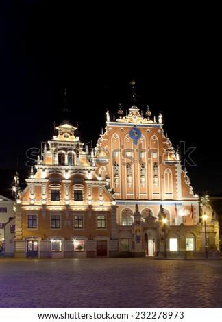 Blackhead house with night illumination in Riga center - stock photo