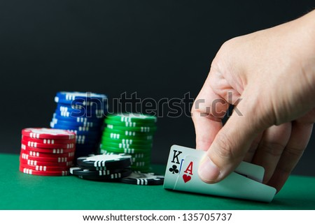 Blackjack with casino chips - stock photo