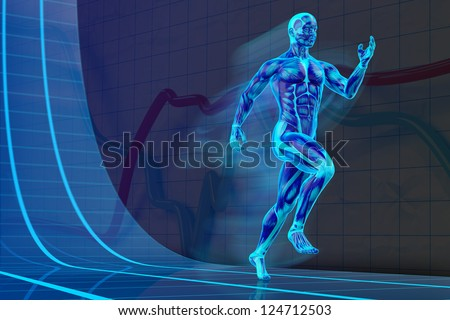 Blacklight Runner Concept muscle anatomy 3D - stock photo