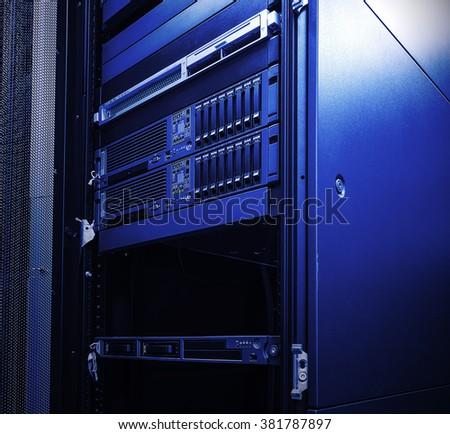 blade server blur blue toning  - stock photo