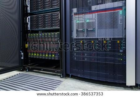 blade server server equipment rack data center closeup - stock photo