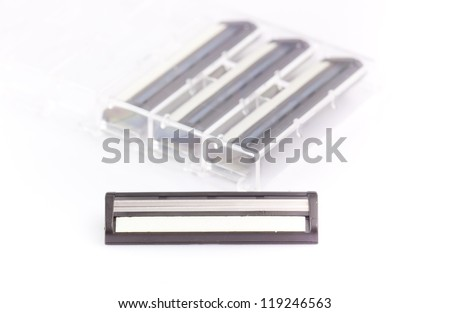 Bladed Razor Heads Set on the white background - stock photo