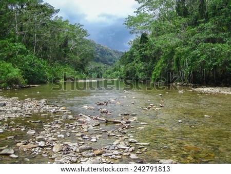 Bladen River in the Bladen Nature Reserve, Toledo, Belize - stock photo