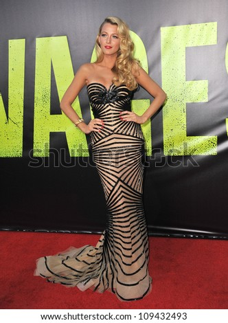 "Blake Lively at the world premiere of her movie ""Savages"" at Man Village Theatre, Westwood. June 26, 2012  Los Angeles, CA Picture: Paul Smith / Featureflash - stock photo"