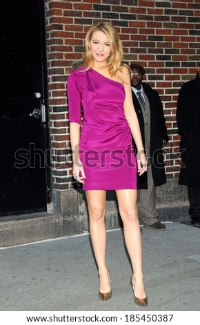 Blake Lively, in a Diane von Furstenberg dress and Jimmy Choo shoes, at talk show appearance for The Late Show with David Letterman-TUE, Ed Sullivan Theater, New York March 24, 2009 - stock photo