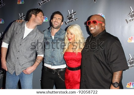 "Blake Shelton, Adam Levine, Christina Aguilera, Cee Lo Green  at NBC's ""The Voice"" Press Conference, LA Center Studios, Los Angeles, CA. 03-15-11 - stock photo"