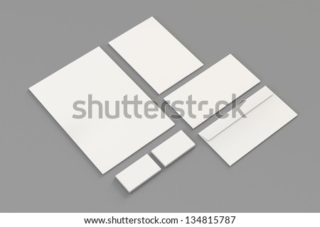 Blank A4 paper, Business cards, Letterhead, Envelopes / Stationary, Corporate identity template on grey background with soft shadows - stock photo