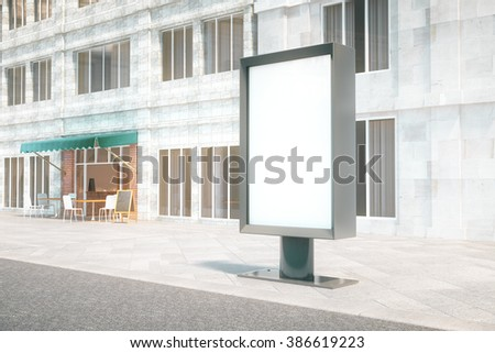 Blank ad banner with concrete building and cafe in the background. Mock up, 3D Render - stock photo