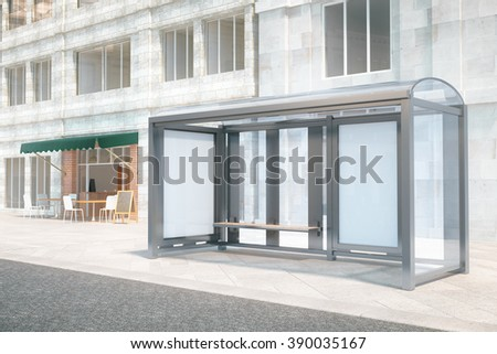Blank ad banners at a bus stop, with concrete building and cafe in the background, mock up, 3D Render - stock photo