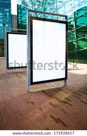 Blank ad billboards on a street - stock photo
