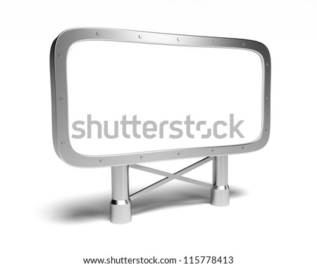 Blank advert billboard on the white background - stock photo