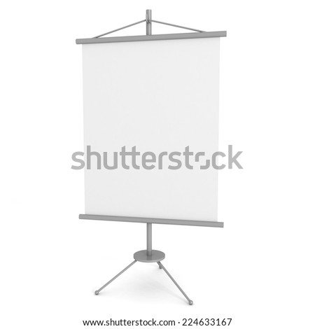 blank advertising banner stand on white background. 3d render illustration - stock photo
