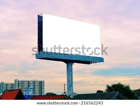 blank advertising billboard at twilight - stock photo
