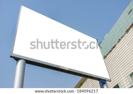 blank advertising led screen with city background - stock photo