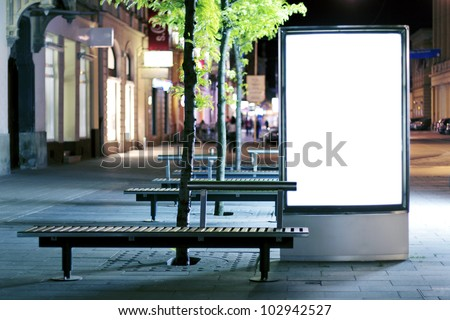 Blank advertising panel on a street - stock photo