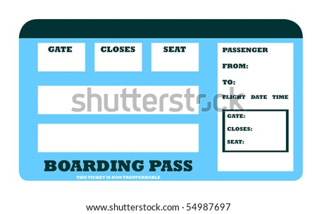 Blank aircraft boarding pass with copy space, isolated on white background. - stock photo