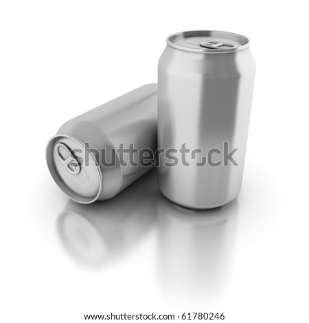 blank aluminium cans on a white background - stock photo