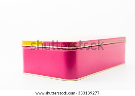 Blank aluminum box. Aluminum box isolated. Clipping path box. Tin box isolated. Empty white box. Blank box isolated. Blank gift box. Square pink box. Stainless box. Toolbox isolated. Pencil box. - stock photo