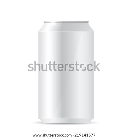 Blank aluminum can on white background - stock photo