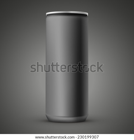 blank aluminum can template isolated over black background - stock photo