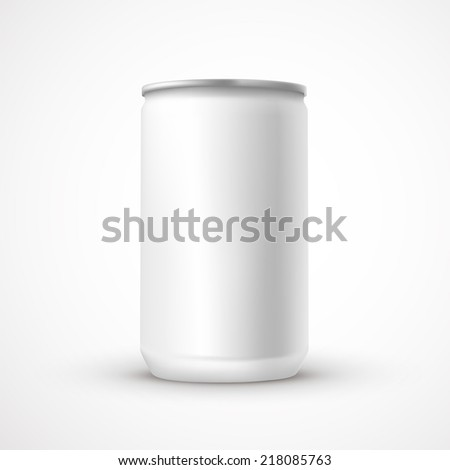 blank aluminum can template isolated over white background - stock photo