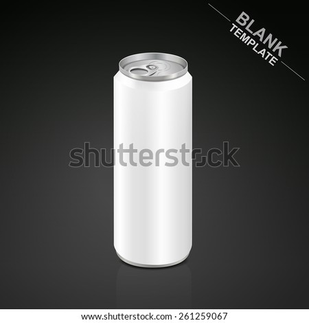 blank aluminum drink can isolated on black background - stock photo