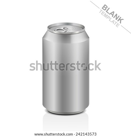 blank aluminum drink can isolated on white background - stock photo