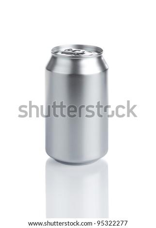 Blank aluminum soda can isolated on white background - stock photo