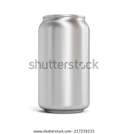 Blank aluminum soda can on white background - stock photo