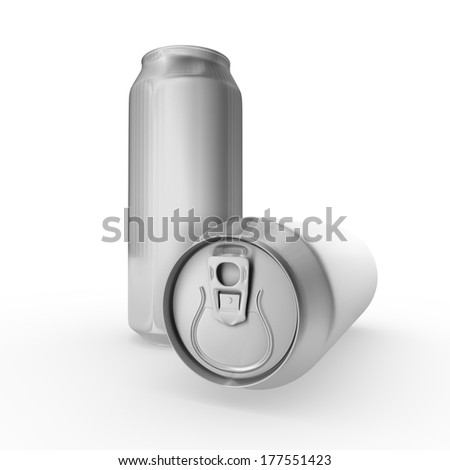 Blank aluminum soda or beer can. Isolated on white background with shadow - stock photo