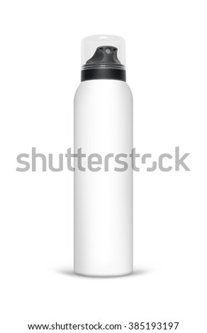 Blank aluminum spray can isolated on white background. Template bottle spray for design. With clipping path - stock photo