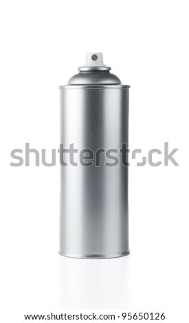Blank aluminum spray paint can over white background - stock photo